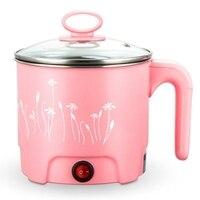 Multifunktions 1.8L Elektrische Pfanne Edelstahl Hot Pot Nudeln Reiskocher Gedämpft Ei Suppe Topf Mini Heizung Pan Rosa  eu Pl| |   -