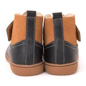 Image 3 - PEKNY BOSA Marke Kinder kleinkind schnee stiefel Mädchen jungen Winter Stiefel Plüsch Kinder Schuhe aus echtem leder matte schwarz stiefel Turnschuhe