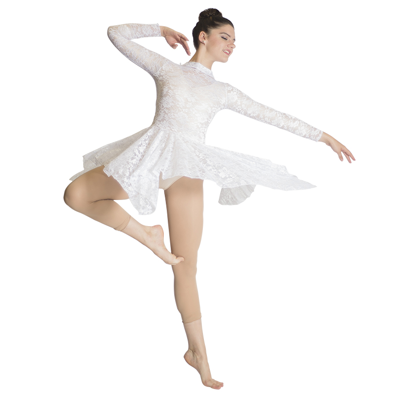 iixpin Kids Girls High-Low Hem Dance Dress Dancer Modern Stage Performance Lyrical Dancewear