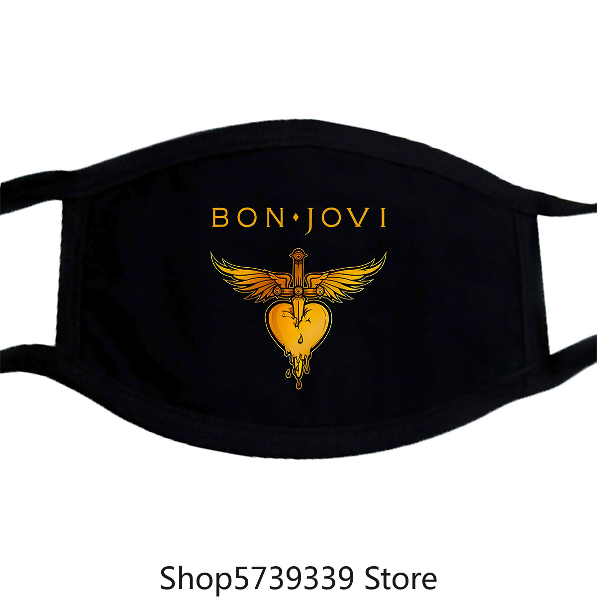 Bon Jovi Heart Graphic Mask, Cotton Rock Tee, Mens Washable Reusable Mask