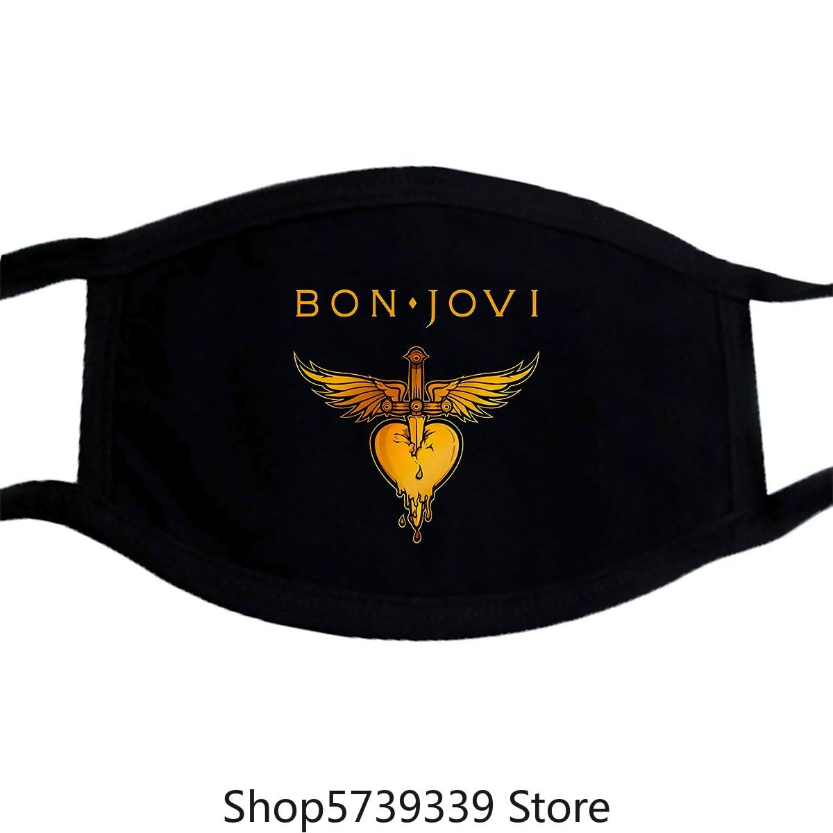 Bon Jovi Heart Graphic Mask, Cotton Rock Tee, Mens Washable Reusable Mask