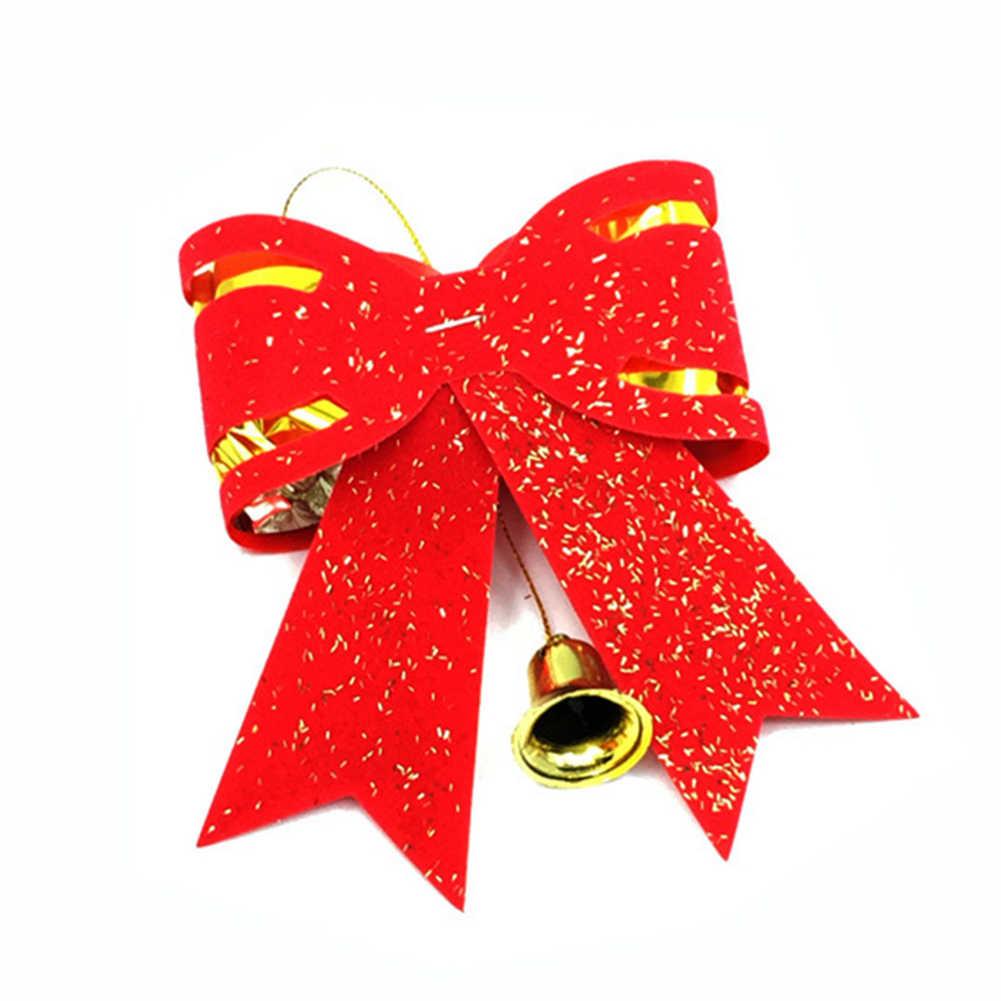 معلقة قلادة عيد الميلاد الكبير ربطة القوس فيونكة شجرة عيد الميلاد اليدوية الأحمر ستار البيت جرس شكل feastval زينة لشجرة المنزل