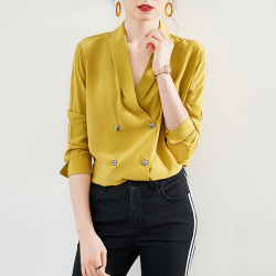 2019 Fall Women's Blouse High End Yellow 100% Real Silk Shirt V-neck Double Breasted Elegant Office Lady Blouses and Tops