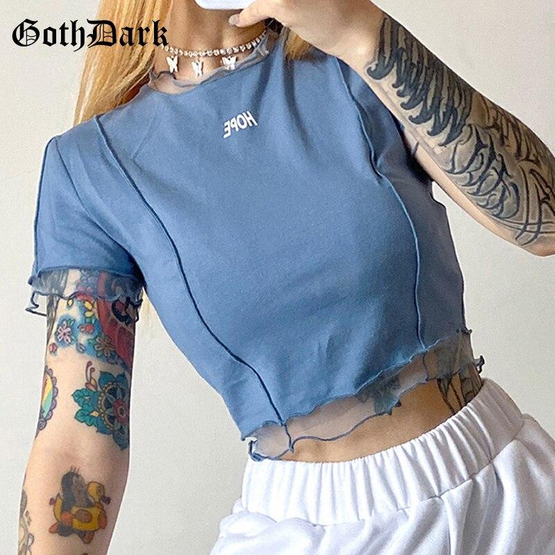 Camisetas gótico oscuro Hope, ropa de verano para mujer, Crop Tops cortos con estampado de letras en negro o azul, dobladillo con volantes y cuello redondo Bodycon Casaul