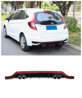 ABS Car Rear Trunk Lip Bumper Diffuser Exhaust Protector Cover Fits For Honda JAZZ FIT GK5 2018 2019|Bumpers| |  -