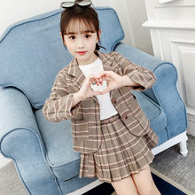 New Fashion Girls Jacket and Skirt Suits Clothing Set Casual Style Princess Plaid Kids For Children