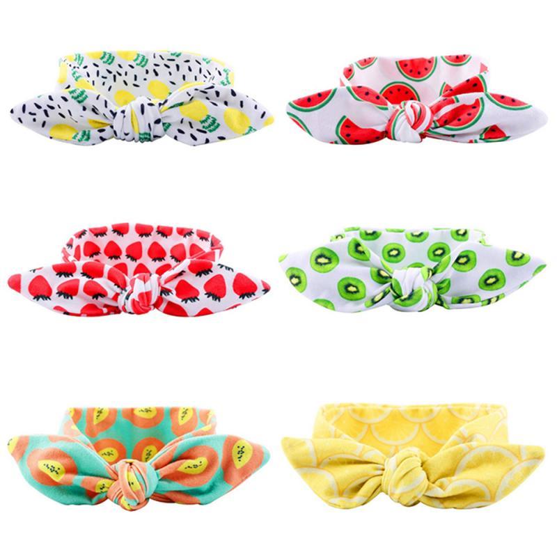 Colorido bebê meninas bandana crianças algodão arco nó faixa de cabelo cabeça wear para crianças bonito padrão frutas acessórios para o cabelo dropship