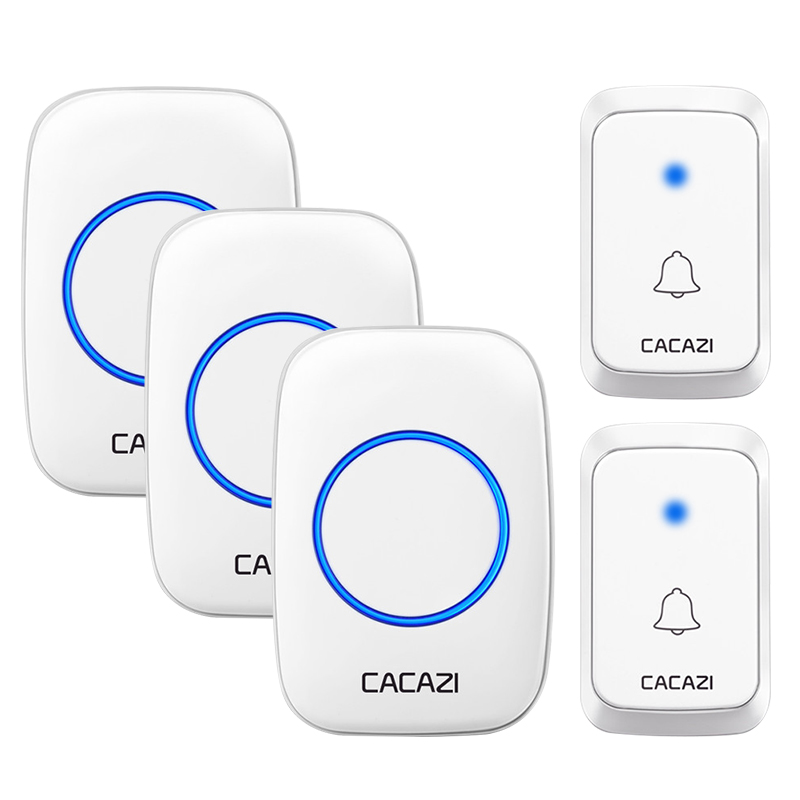 CACAZI Wireless Waterproof <font><b>Doorbell</b></font> DC battery-operated 1 2 Button 1 2 3 Receiver 300M <font><b>Remote</b></font> Cordless Smart <font><b>Doorbell</b></font> 36 chimes image