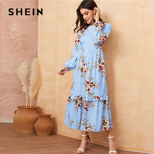 Image 3 - SHEIN Floral Ruffle Hem Fit and Flare Long High Waist Dress Women Spring Autumn Bishop Long Sleeve Boho Elegant Dresses