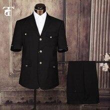 TPSAADE Chaqueta de manga corta para hombre, diseño de uniforme masculino de oficina, fábrica de prendas, trajes de fantasía para hombre, ropa, traje de Safari, 2020
