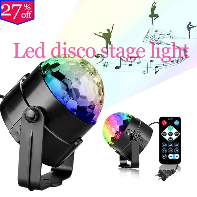 Remotely Controlled LED Voice-controlled Mini Crystal RGB Colorful Disco Stage Christmas New Year Wedding KTV Party Spin Lights