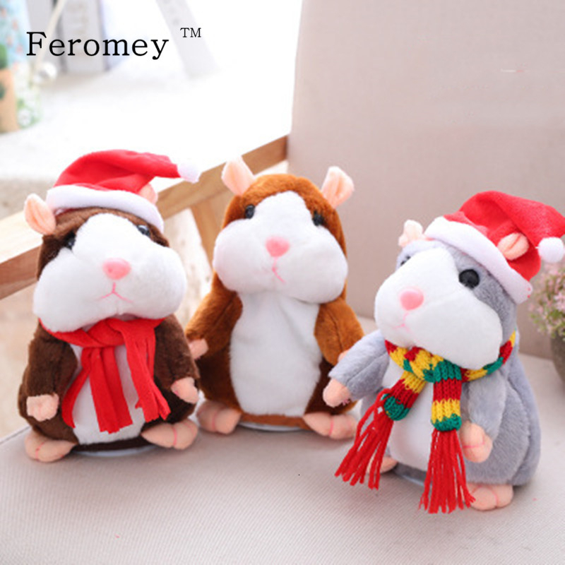 Drop Shipping Talking Hamster Plush Doll Toy Cute Talking Sound Record Hamster Stuffed Doll Children Kids Gifts 15cm
