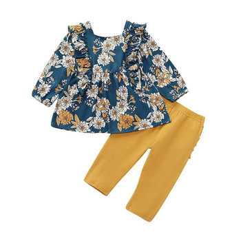 CANIS children's sets 2Pcs Kid Baby clothing Girls Clothes Floral printed ruffles Dresses+long solid Pants set Autumn Outfit jxysy toddler kid baby girls clothing set ruffles floral top pleated pants spring autumn girls clothes children costumes