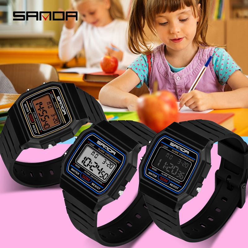SANDA New Child Electronic Watch Students Fashion Personality Luminous Sports Waterproof  Wristwatch Montre Pour Enfants