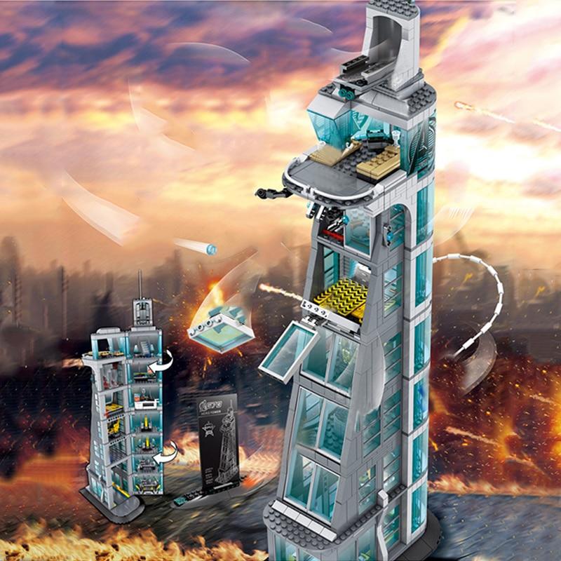 Marvel Super Heroes ชุด Avengers Tower Stark Iron Man Infinity War ภาพยนตร์บล็อกของขวัญของเล่น Figuras-ใน บล็อก จาก ของเล่นและงานอดิเรก บน   1