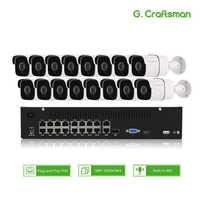 16ch 5MP Audio POE Kit H.265 System CCTV Security NVR Outdoor Waterproof IP Camera Surveillance Alarm Video Record G.Craftsman