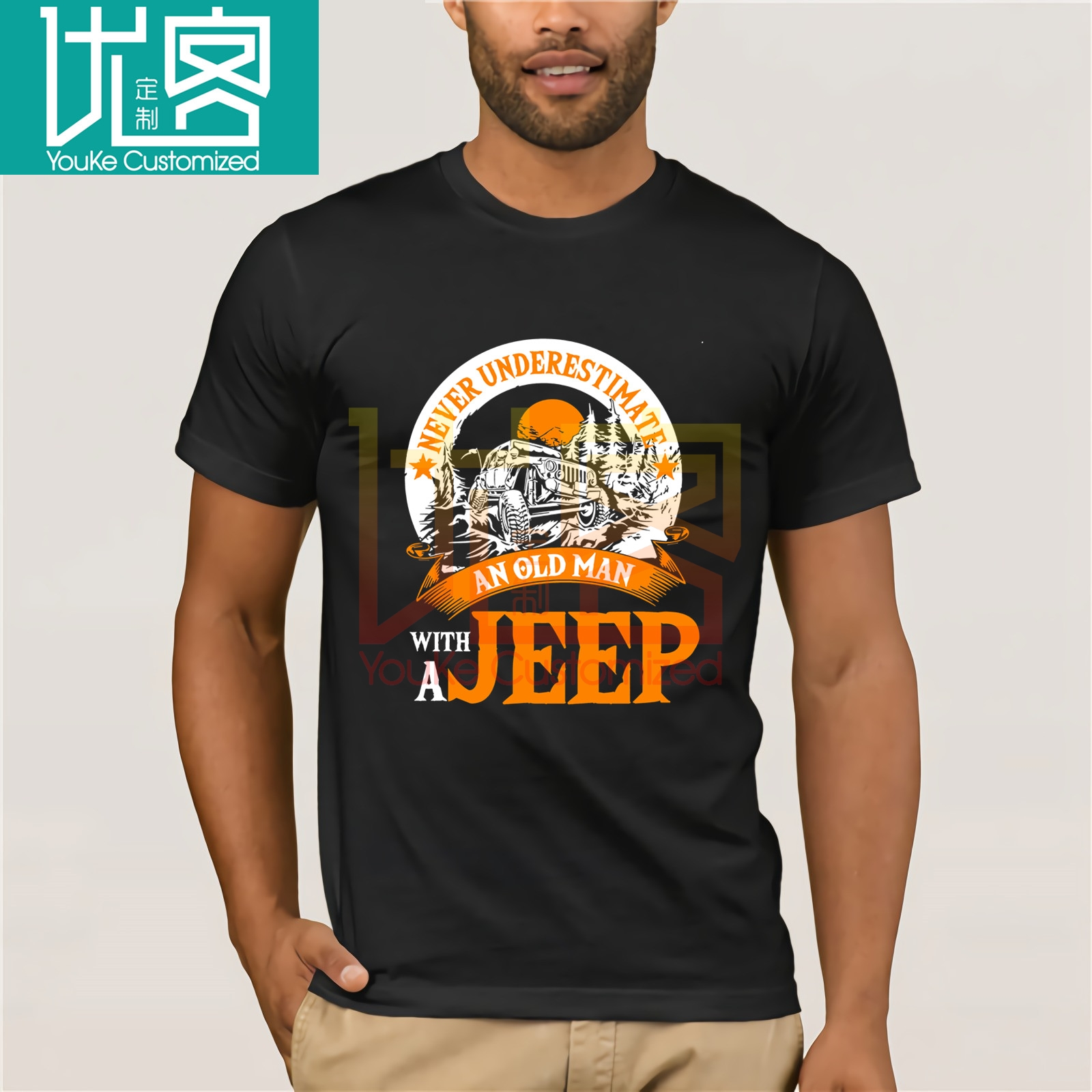 2020 Fashion Free Shipping Never Underestimate An Old Man With A Jeeps T Shirt Tee Shirt