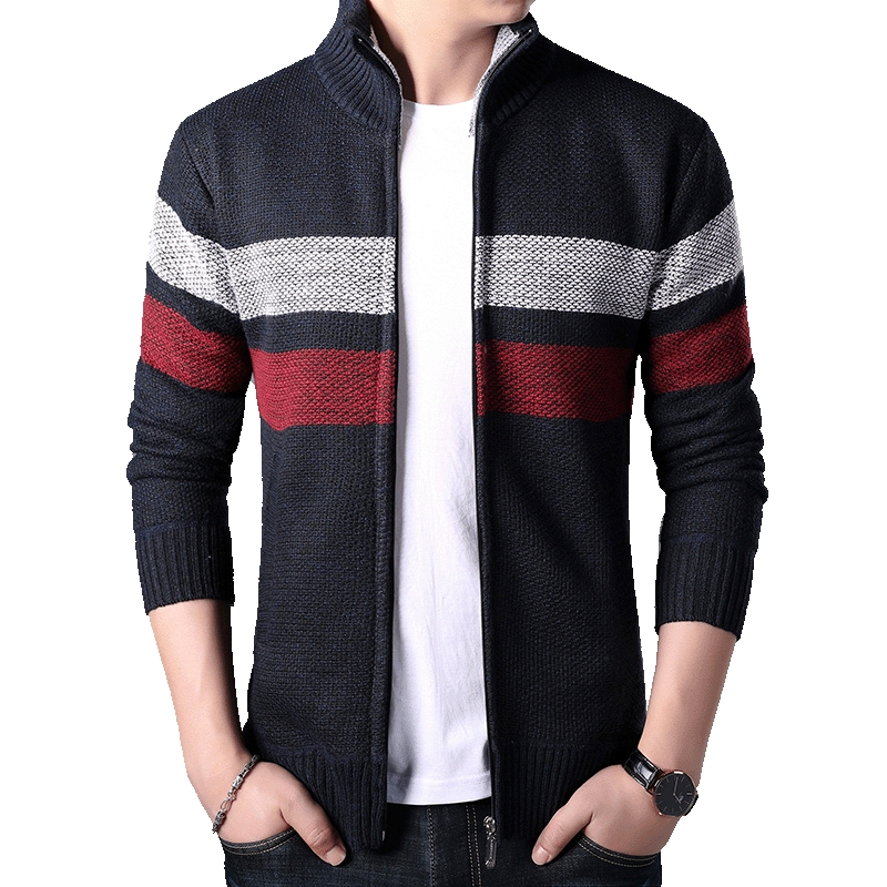 Homme Sweaters Winter Mens Clothes Striped Male Autumn Cardigan Fashion Fit Thick Slim Keep Warm Men Solid Smart Casual Sweaters