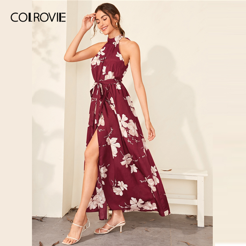 COLROVIE Burgundy Floral Print Wrap Hem Belted Halter Dress Women High Waist Maxi Dress 2020 Spring Summer A Line Boho Dresses 3