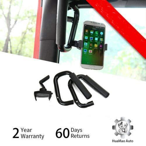 Front Grab Bars Grip Handles W/ Mobile Phone Holder For 07+ For Jeep Wrangler JK JKU