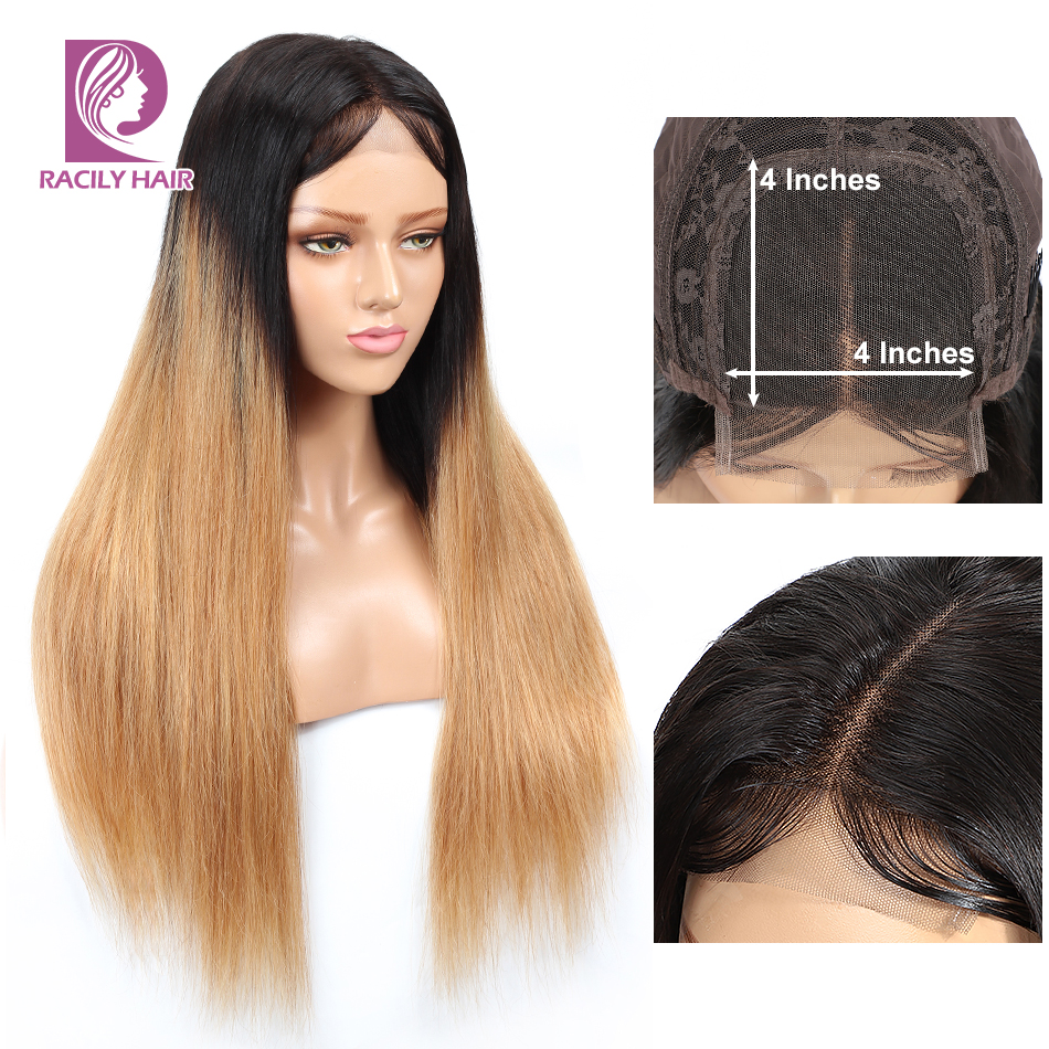 T1B/27 4x4 Lace Closure Wig Racily Hair Ombre Lace Closure Human Hair Wigs For Black Women Remy Glueless Brazilian Straight Wig