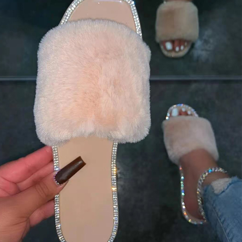 2021 House Slippers For Women Plus Size 43 Home Flat Shoes Fur Crystal Woman Indoor Shoes Female Footwear Furry Candy Color