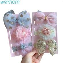 Baby Headbands Flower Lace Bowknot Children Warmom European-Style 3pcs/Set