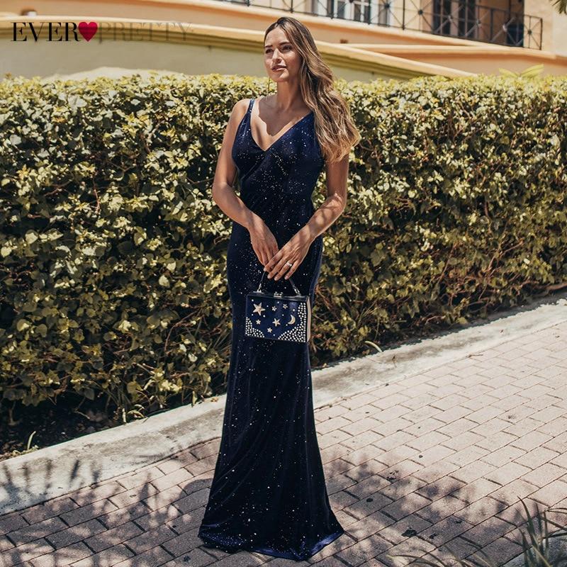 Elegant Mermaid Evening Dresses Long Ever Pretty EP00850NB V-Neck Spaghetti Straps Velour Sexy Party Gowns Vestido Longo Festa