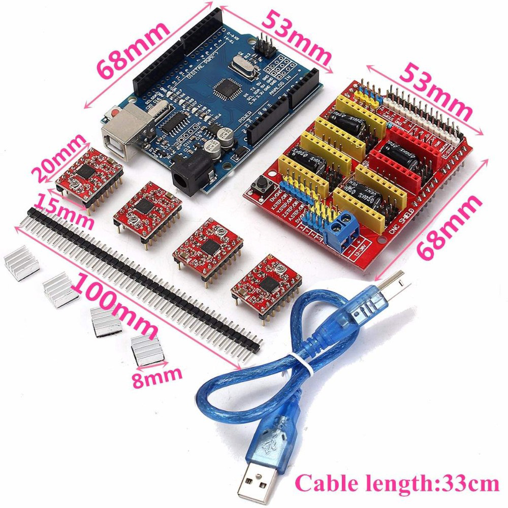 New Arrival V3.0 Engraver CNC Shield+Board+A4988 Stepper Motor Drivers For Arduino R3 New Electric Board