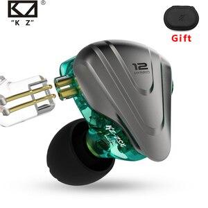 Image 1 - Металлические наушники Terminator KZ ZSX, 12 шт., гибридные Hi Fi басовые наушники 5BA + 1DD, наушники с шумоподавлением, гарнитура, монитор