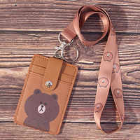 Cartoon PU leather ID Card Holder Retractable Badge Holder Student Stationery Lanyards ID badge holder Badge clip office supply