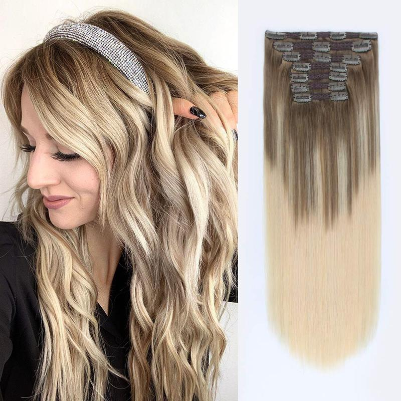 Kayla Hair Clips In Brazilian Human Hair Straight Clip In Hair Extensions 7 Pieces And 120g/Set Natural Color Remy Hair
