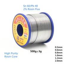 500g 0.5mm 0.8mm 1.0mm 2.0mm 60/40 fluxo 2.0% estanho chumbo rosin núcleo fio de solda para reparo elétrico, reparo de ic em estoque