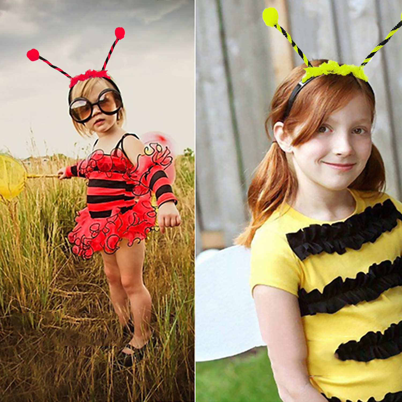 Behogar 2 pçs bonito abelha joaninha estilo bandana headwear antena hairband aros para crianças festa de halloween traje acessórios