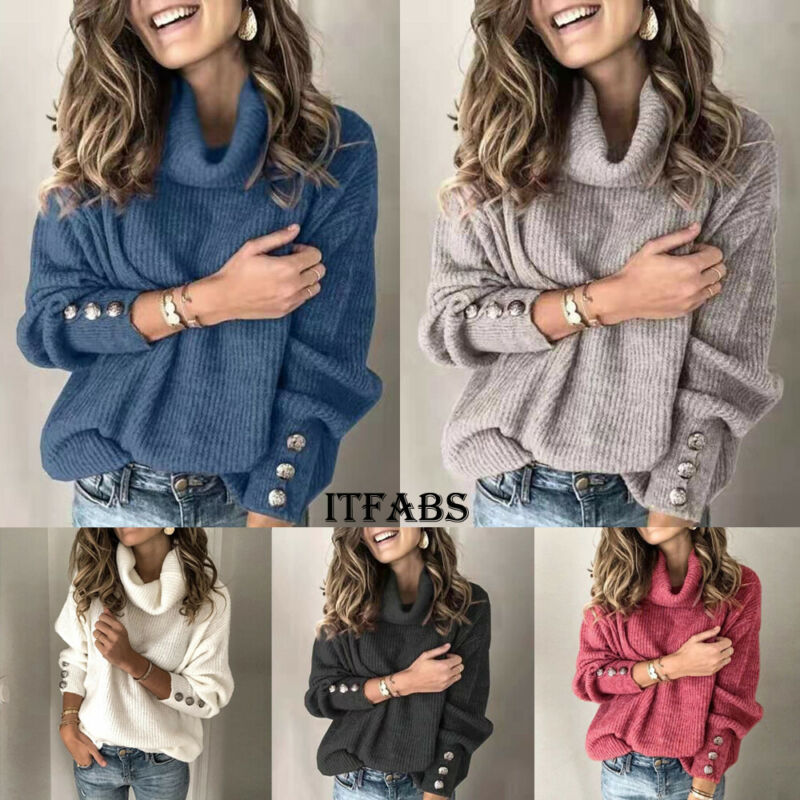 Sweater Women Turtleneck Winter Clothes Casual Wool Button Long Sleeve Pullover Blouse Plus Size Oversized Sweters Mujer 2020