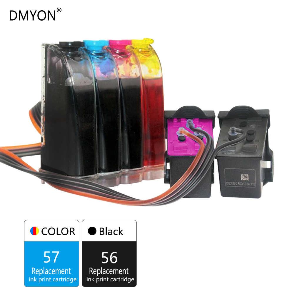 DMYON 57 56 XL Ciss luzem tusz kompatybilny do Hp 57 56 dla Deskjet 450 450cbi 450ci 450wbt F4140 F4180 5150 5550 5652 5655 drukarki
