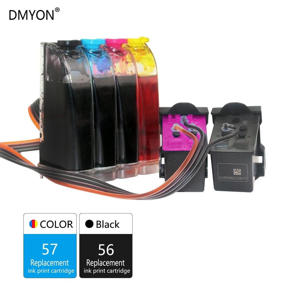 DMYON 57 56 XL D'encre En Vrac Compatible pour Hp 57 56 pour Deskjet 450 450cbi 450ci 450wbt F4140 F4180 5150 5550 5652 5655 Imprimante