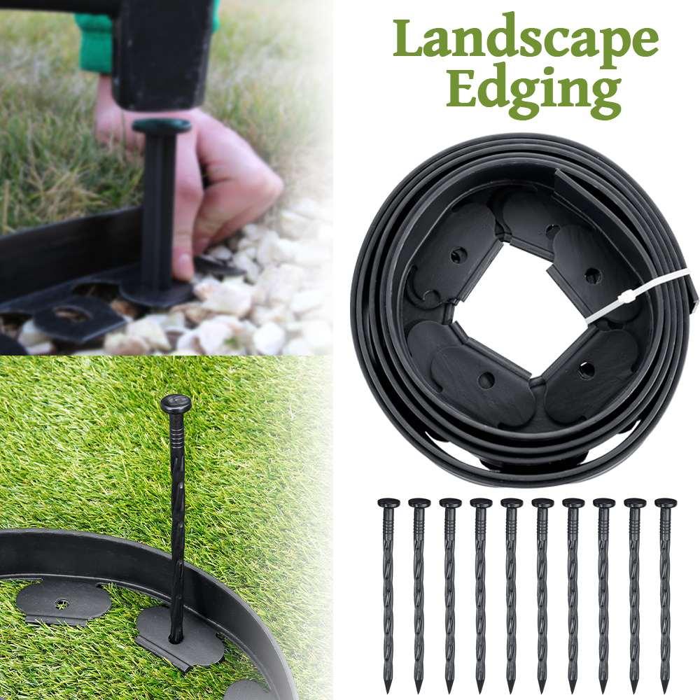 Garden Flexible Lawn Grass Plastic Edging Border With 10 Extra Strong Pins Grass Edging Fence Belt Garden Patio Greening Belt