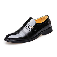 2020 New Spring Bright Leather Men's Shoes Business Dress Set Feet High