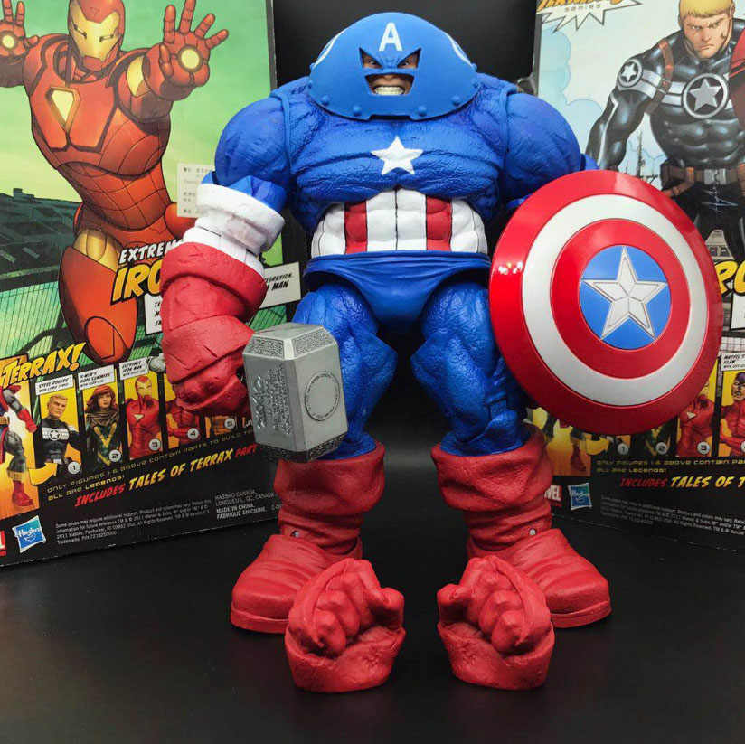 "DST Marvel Select X-Homens Juggernaut Capitão América Com Thor Martelo Custom 9 ""Loose Action Figure"