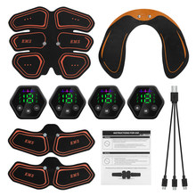 Muscle Stimulator EMS Abdominal Hip Trainer LCD Display Toner USB Abs Fitness Training Home Gym Weight Loss Body Slimming