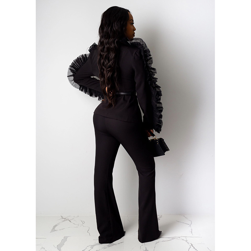 Fashion Blazer Set Women Suits Organza Deep V-neck Long Sleeve Coat + Long Wide Pants Two Piece Set Women Tracksuit Autumn