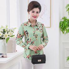 Spring Women Casual Flower Shirts Red Green Blue Floral Printing Long Sleeve Turn Down Collar Button Front Shirt Plus Size Wear pyjamas women plus size woman clothes korean women long sleeve long pants cartoon printing front pocket turn down collar bow