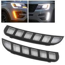 1 paar Dual Farbe LED DRL Tagfahrlicht Blinker Lampe Fit für Ford Explorer 2016 2017 2018(China)