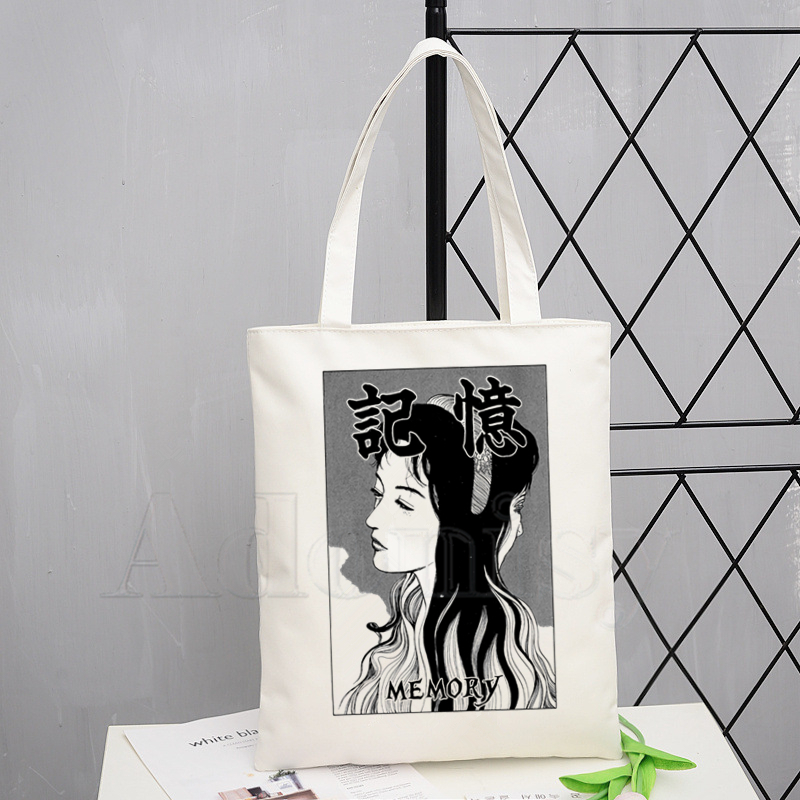 Junji Ito Fashion Canvas Bag Women Girls Simple Large Capacity Storage Handbag Shoulder Bag Tote Reusable Student Bookbag