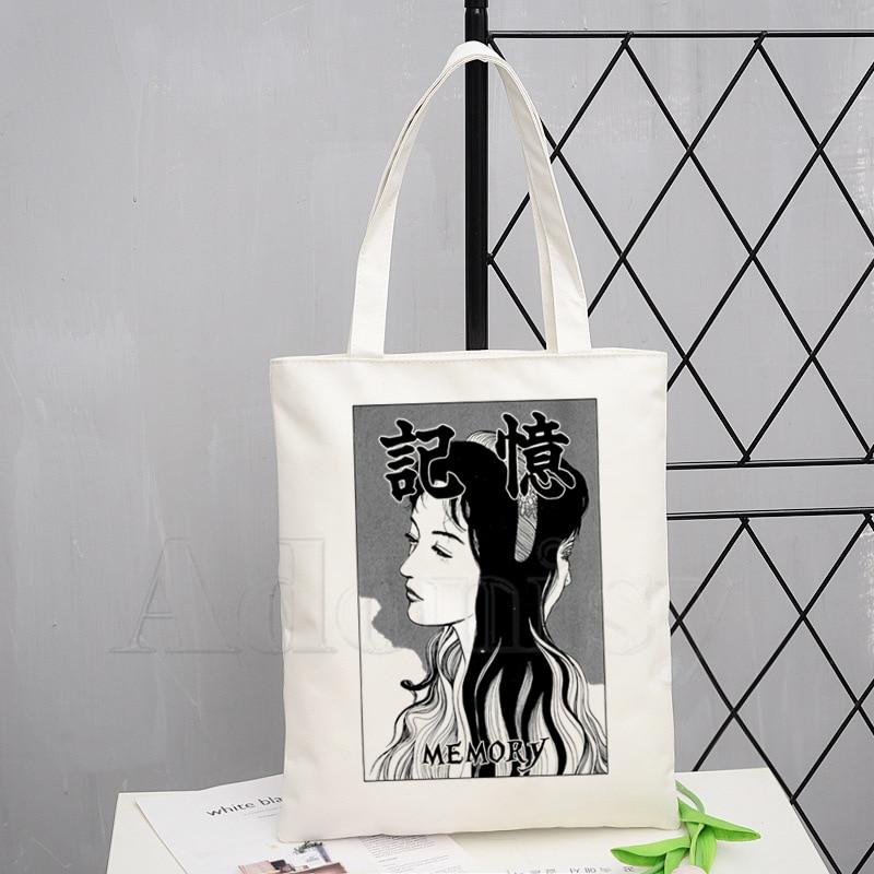 Junji Ito Fashion Canvas Bag Women Girls Simple Large Capacity Storage Handbag Shoulder Bag Tote Reusable Student Bookbag