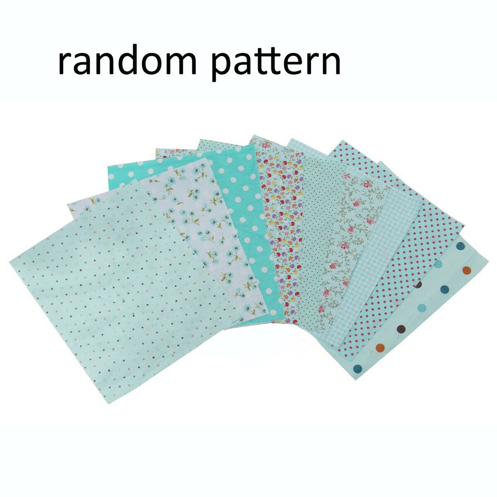 Handmade 9pcs DIY Cotton Fabrics Patchwork Group Plain Square Cotton Cloth DIY Manual Floral Pattern Cloth 25*25cm