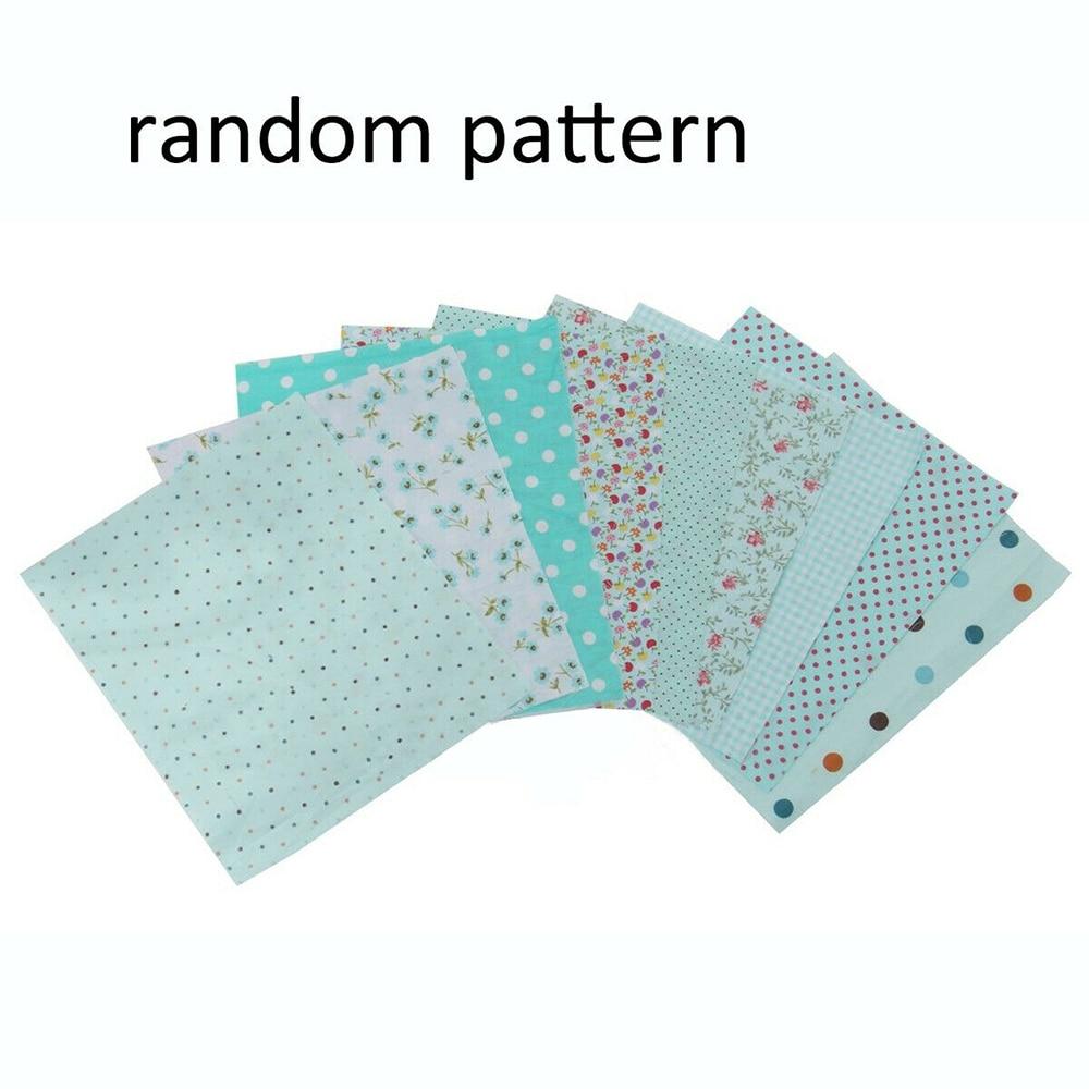 Handmade 9pcs DIY Cotton Fabrics Patchwork Group Plain Square Cotton Cloth DIY Manual Floral Pattern Cloth 25*25cm