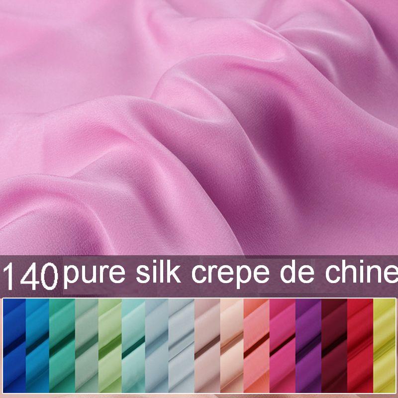 50cm * 138cm couleur unie tissu De soie naturelle crêpe De Chine vraie soie 24 couleurs