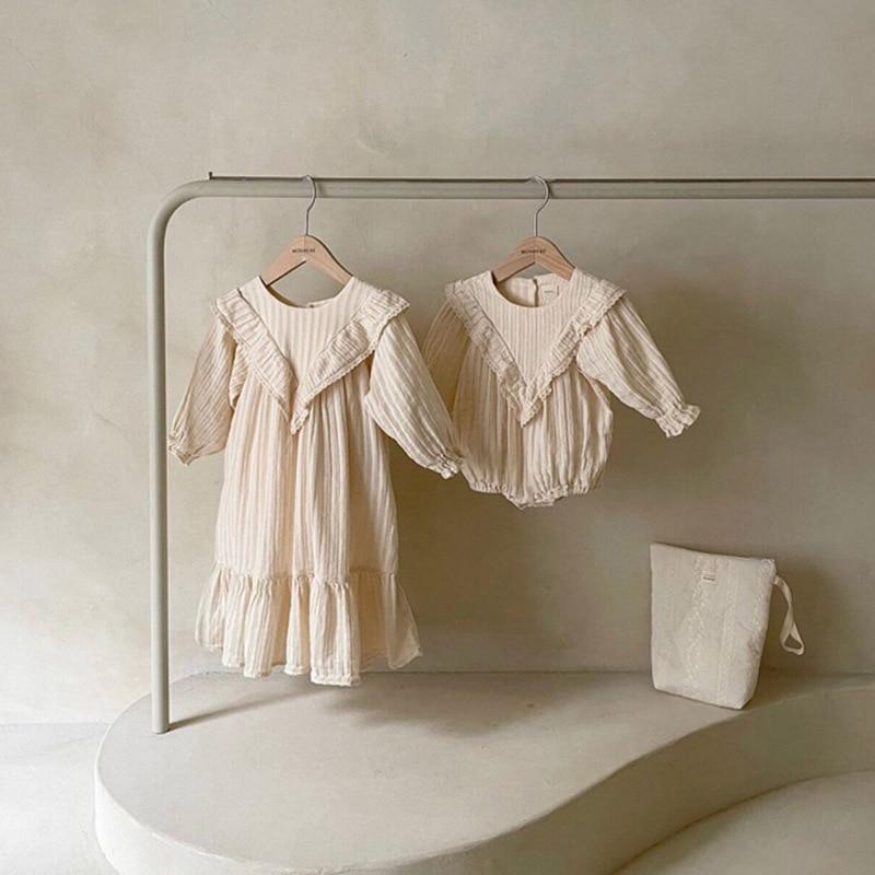 2021 Spring Girl Dress Newborn Baby Nightdress Princess Dress Mommy Baby Crawl Jumpsuit Mother and Daughter Dress Pajamas